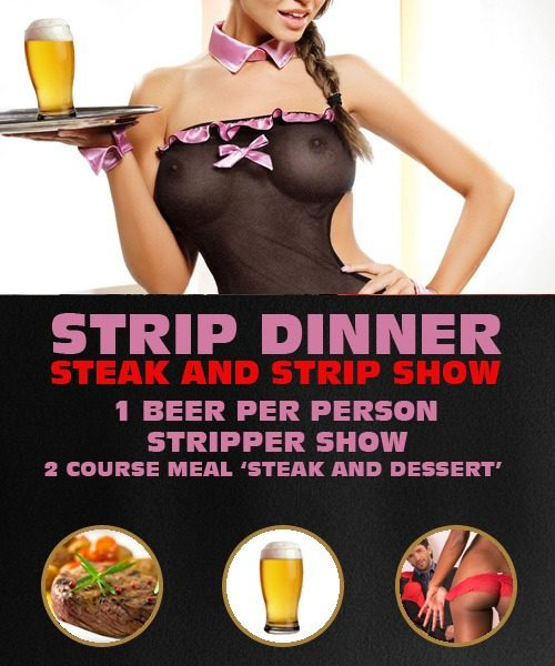 Strip Dinner (steak n strip show) in Riga by www.rigastagpartyweekend.com